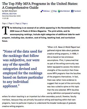 mfa creative writing rankings canada