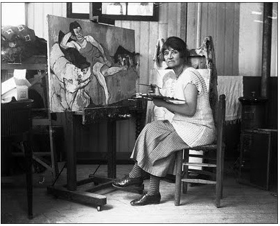 Suzanne Valadon paints in her studio, Paris (1920)